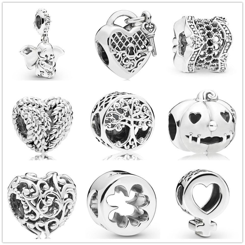 New Silver Charm forever family life tree lock to heart Bead fit Original Pandora charms silver 925 Bracelet DIY women Jewelry(China)