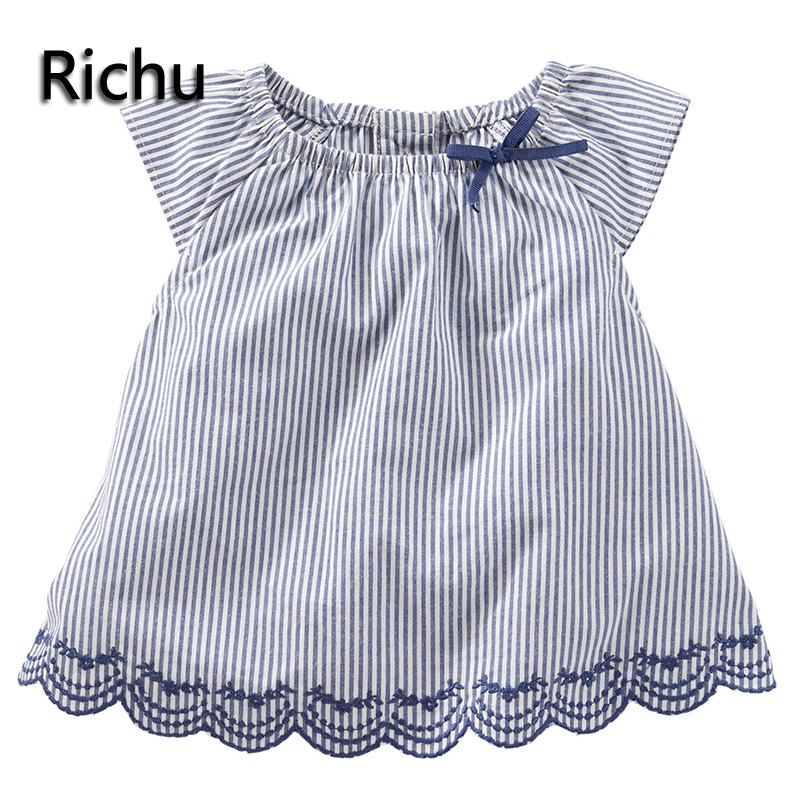 2017summer toddler fashion hawaiian dress shirt kids clothes knitted sleeveless plaid baby shirt school blouse girls shirts free