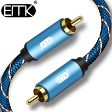 лучшая цена EMK RCA cable coaxial cable male to male 1m 2m 1.5m 3m Stereo Hifi Audio Rca to Rca Cable for Amplifier Subwoofer speaker