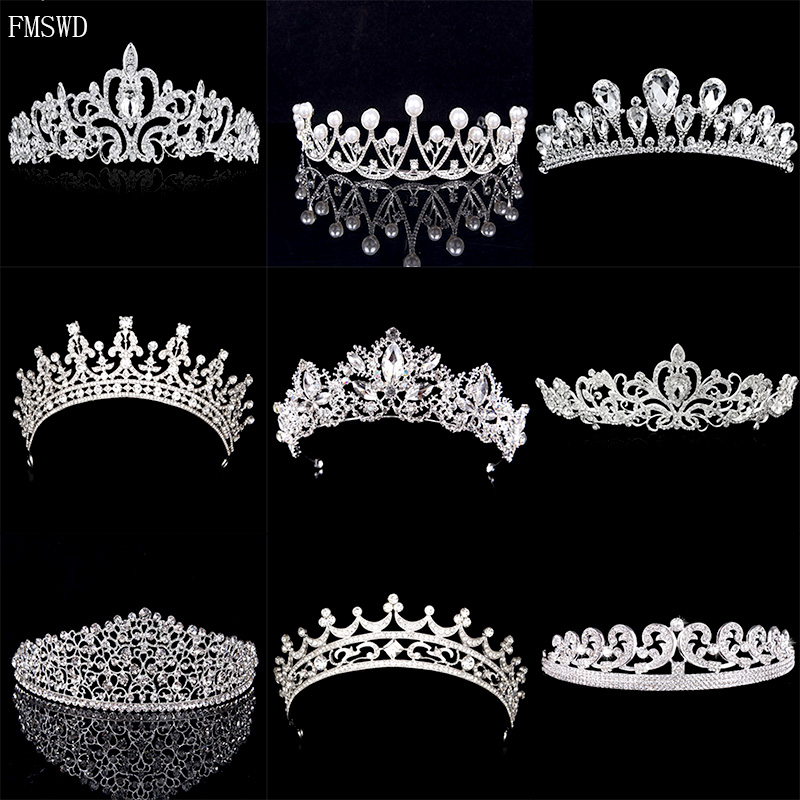 Trendy Silver Gold Color Baroque Crystal Luxury Wedding Crowns For Bride Tiara  Crowns Fashion Queen Headpiece Hair Accessories