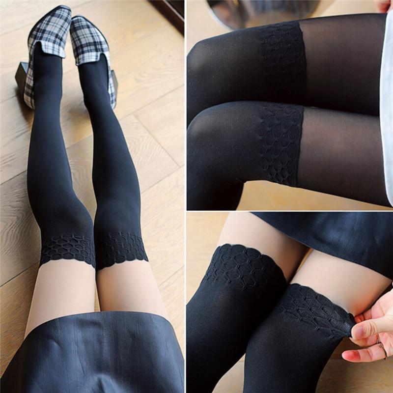 2018 harajuku kawaii New Fashion Black Stitching Lace Knee Stockings Patchwork Tattoo Tights Women Girls Sheer Footed Pantyhose