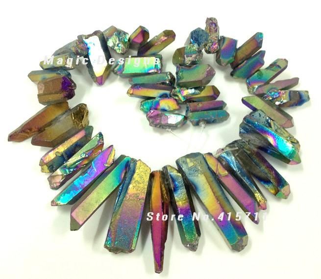 C150631061 Rainbow Mystic Titanium AB Quartz Crystal point bead,Tusk shape rock crystal pendant beads