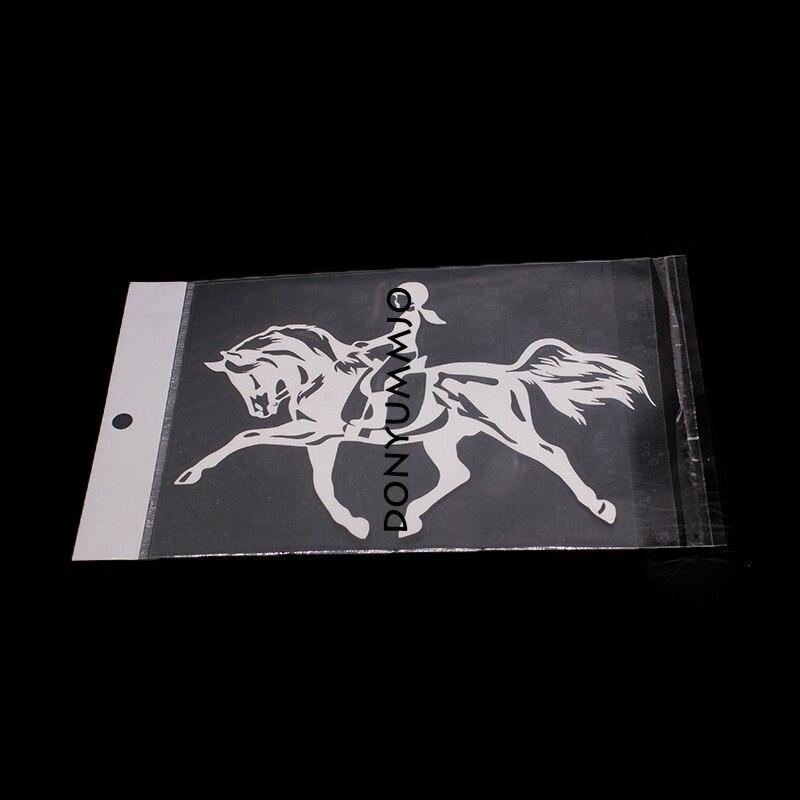 DONYUMMYJO 18cm*12.5cm Riding A Horse Jumping Sport Girl Interesting Vinyl Decal Black/Sliver Car Sticker RW-017
