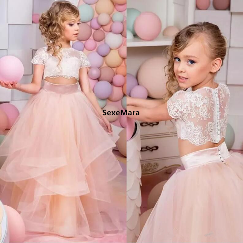 2018 Vestidos Primera Comunion Two Pieces Ball Gown Flower Girl Dress Lace Toddler Glitz Pageant Dresses Pretty Kids Prom Gown 2017 pretty pink first communion dress with bow puffy flower girl dresses girl pageant gown vestido de primera comunion