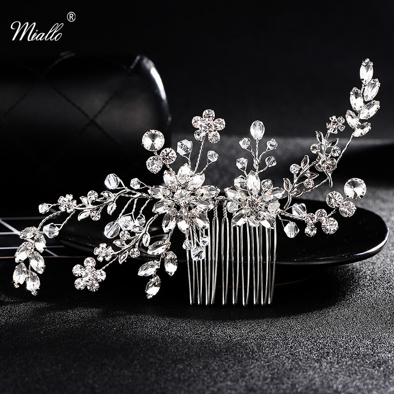 Crystal Rhinestone Hair Combs Flower Hair Clips for Wedding Women Jewelry Hair Accessories Bridal Comb Girls Headwear Head Stick