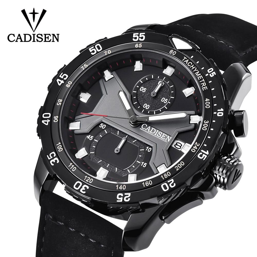 CADISEN New Mens Watches 2018 Top Brand Luxury Waterproof Date Quartz Watch Man Leather Sport Wrist Watch Men Waterproof Clock