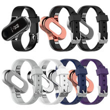 Xiaomi 3 Replacement Silicone Wrist Strap Watch Band With Metal Frame For Xiaomi mi band 3 Bracelet Accessories New Arrival(China)