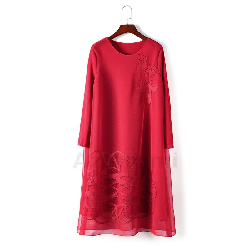 Femmes red Azterumi green Plissée ligne Col Red Maille Lâche Miyake De Robe blue Diamant Couture Nouveau Rond Printemps rose Fleur Vintage Issey A Black Tq1rqAI