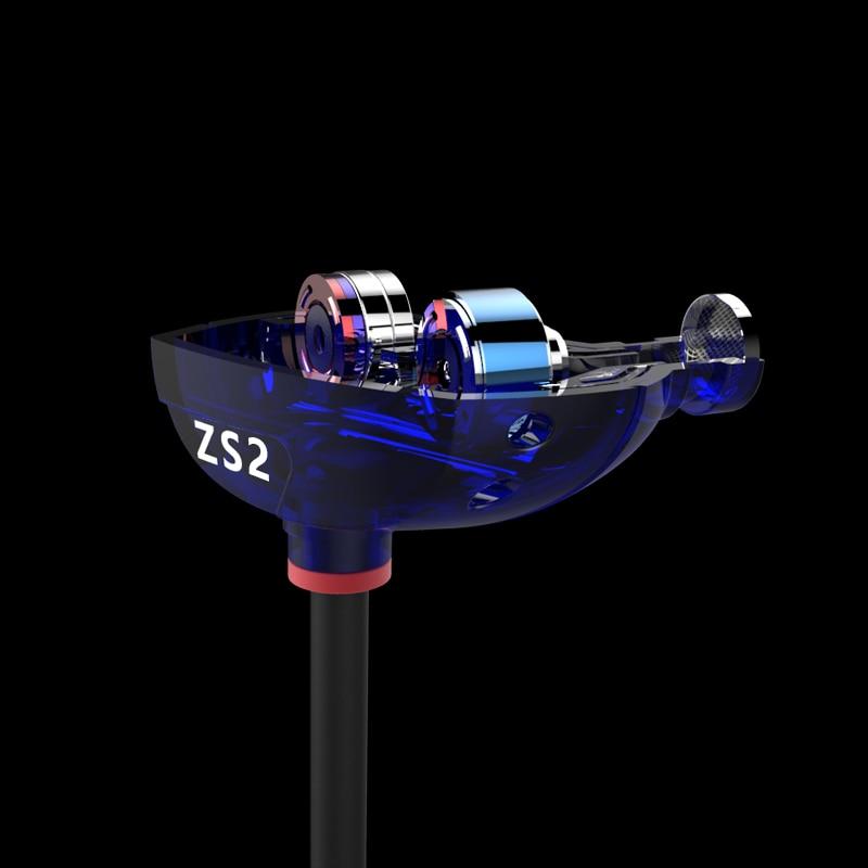 ZS2 Earphones Dual Driver Earphones ZS1 Headset Audifonos Stereo Earphone 100% KZ-ZS1 In Ear Bass Earbuds