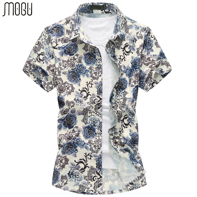 MOGU Floral Hawaiian Shirt Heren Korte Mouw 2017 Zomer Nieuwe Mode Gedrukt Casual Mannen Shirt Slim Fit Plus Size 7XL heren Shirt