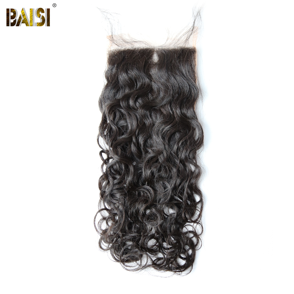 BAISI Water Wave Lace Closure Peruvian 5x5 Free Part Swiss Lace Human Hair,Free Shipping