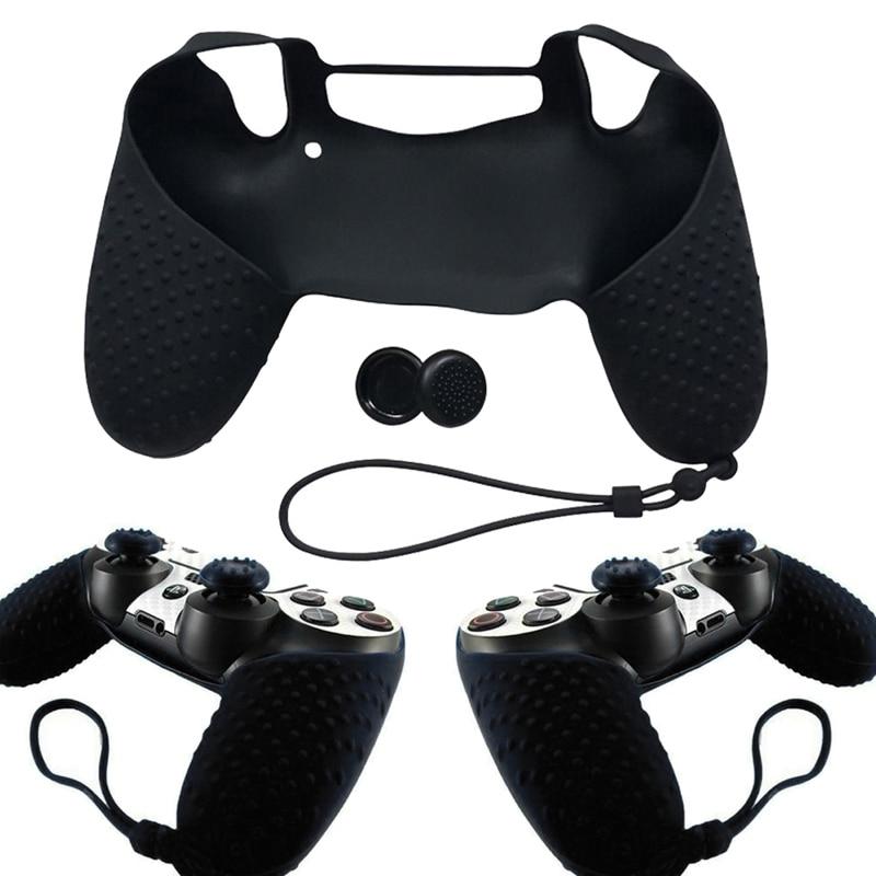 Silikone Cover Cover Skin med håndledsrem + Joystick Thump Grip Caps med hver hud til Sony Playstation 4 PS4 Controller