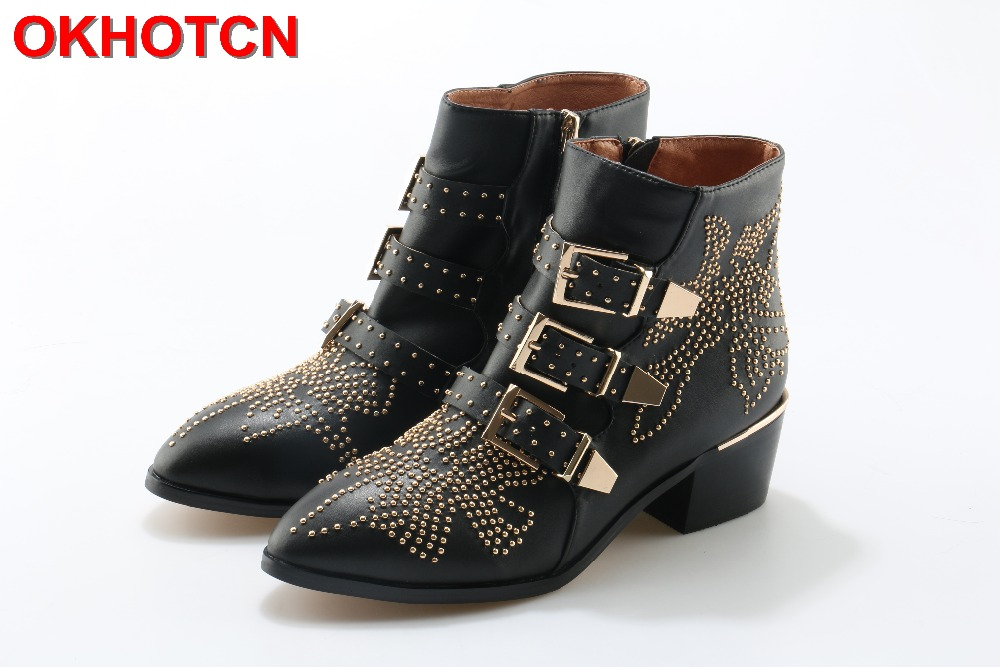 Rivets Studded Booties Buckle Straps Genuine Leather Women Ankle Boots Thick Med Square Heel Motorcycle Boots Woman Riding Boots mabaiwan handmade rivets military cowboy boots mid calf genuine leather women motorcycle boots vintage buckle straps shoes woman
