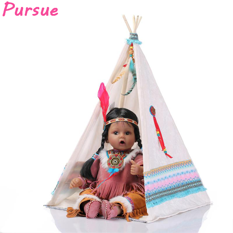 Pursue 20 Inch Princess American Indian Girl Doll Reborn Silicone Reborn Baby Dolls Educational Toys Baby Alive Reborn Babies 22 inch silicone reborn dolls baby alive silicone reborn toddler princess girl dolls body silicone girl reborn babies doll
