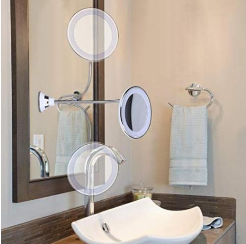 Us 11 57 360 Swivel 10x5 Magnifying Bright Led Lighted Makeup Mirror Adjule Flexible Bendable Gooseneck Wall Mounted Bathroom In Bath