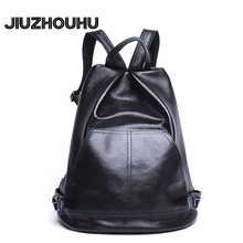 Новинка Модные женские рюкзак Для женщин Сплошной Черный Рюкзак Повседневное Пояса из натуральной кожи Ежедневно Рюкзак High-End туристические рюкзаки