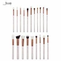 Jessup Pearl White Rose Gold Professional Makeup Brushes Set Make Up Brush Tools Kit Foundation Powder