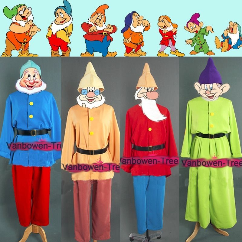 Custom Made Snow White and Seven Dwarfs Costume Uniform Suit Halloween Carnival Adult Cosplay Costume Seven Colors Free Beard