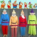 Por Encargo Blancanieves y Los Siete Enanitos Traje Uniforme Traje de Halloween Carnaval Cosplay Traje Adulto Siete Colores Envío Barba