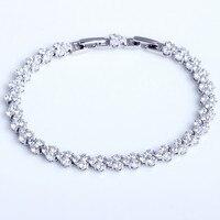 Fashion Brand Design High Grade AAA Cubic Zirconia Crystal Stones Paved Genuine 925 Silver Tennis Bracelet