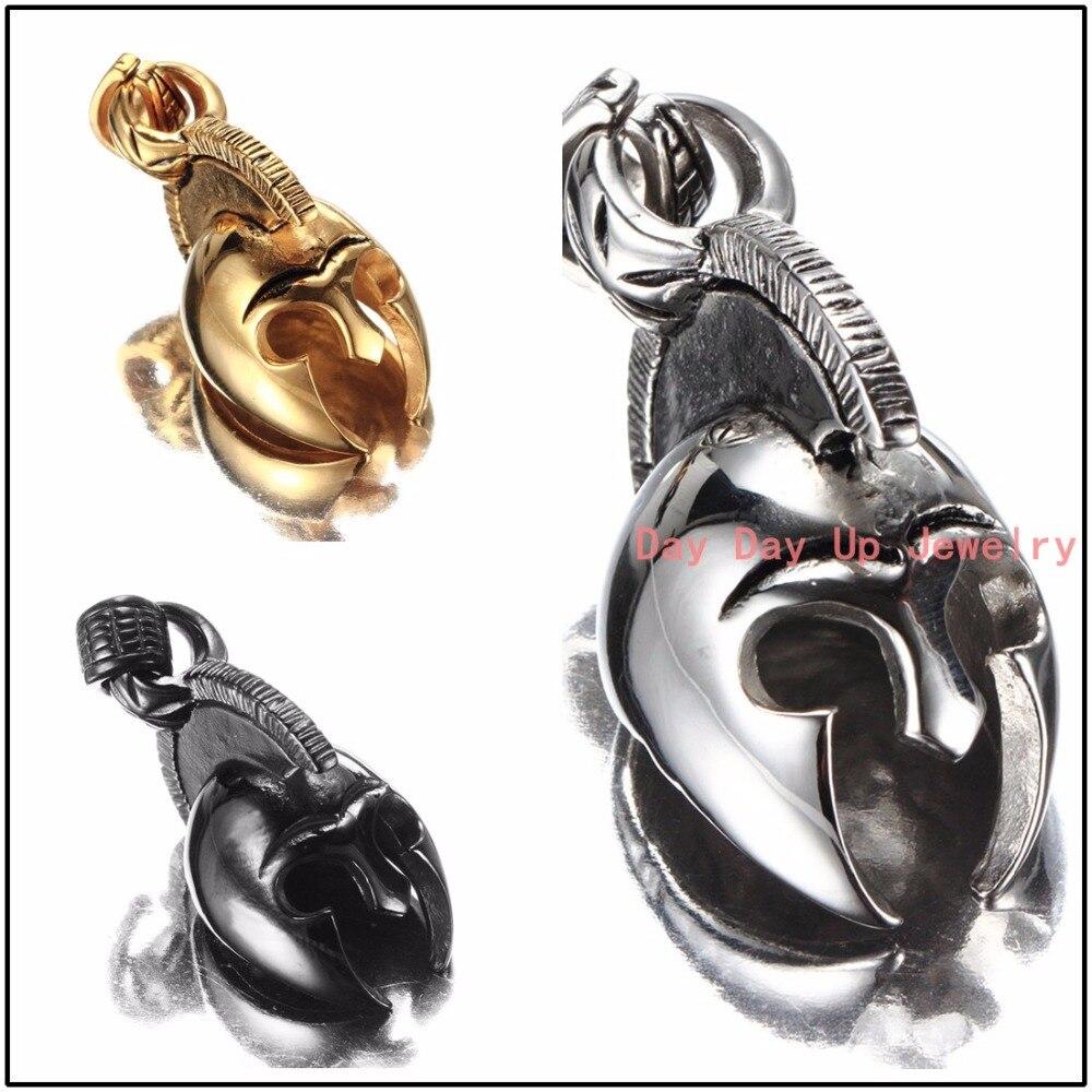 6d7245f6239f Moda de alta calidad 316l Acero inoxidable plata oro negro casco del tono  joyería de moda colgante collar de cadena Navidad regalo