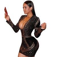 New Clothing 2017 For Woman Sexy Geometric Retro Rhinestone Long Sleeve Bodycon Tight Dress Party Dress