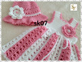 Maria ...., Crochet Baby Dress and Hat Set, Baby Dress, Baby Hat