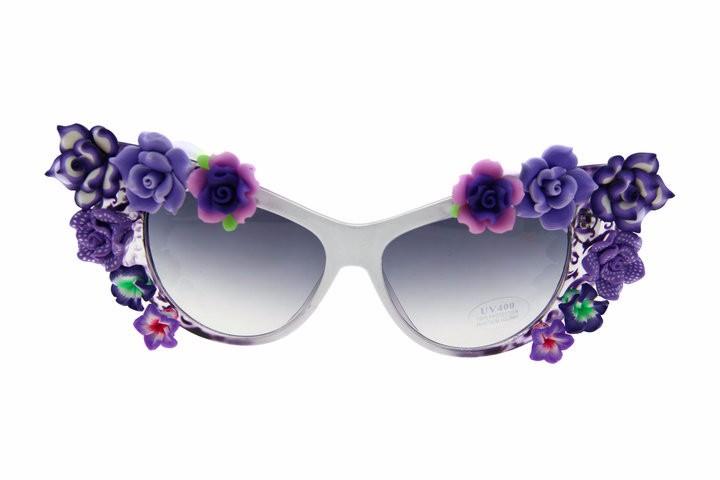 солнцезащитные очки кошачий взгляд с декором фиолетовые цветы фото