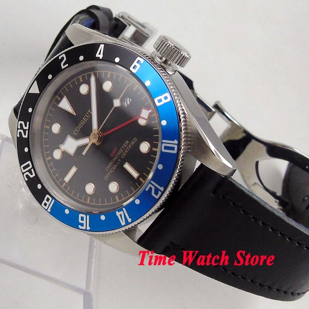 Solid 41mm Corgeut GMT men's watch black dial luminous blue black Bezel sapphire glass Automatic wrist watch dive watch cor115 цена и фото
