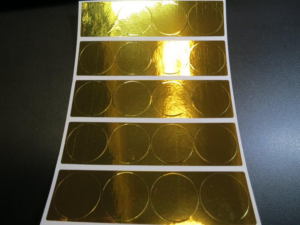 Gold Return Address Labels Personalised Gold circles Stickers customised x 50