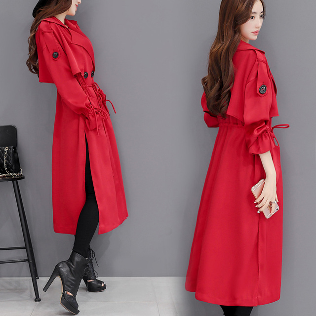 New Spring Autumn Fashion Women Red Trench Coat Office Lady Long Windbreaker Irregular Split Elastic Waist Over Knee Overcoat