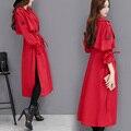 Nueva Primavera Otoño Moda Mujeres Irregular Dividida Rojo Señora de la Oficina Gabardina Larga Cazadora Abrigo de Cintura Elástica Sobre La Rodilla