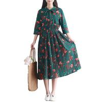 WAQIA Women Dress 2018 Spring Vintage Floral Dresses Feminine Three Quarter Bow Knee Length Pleated Chiffon