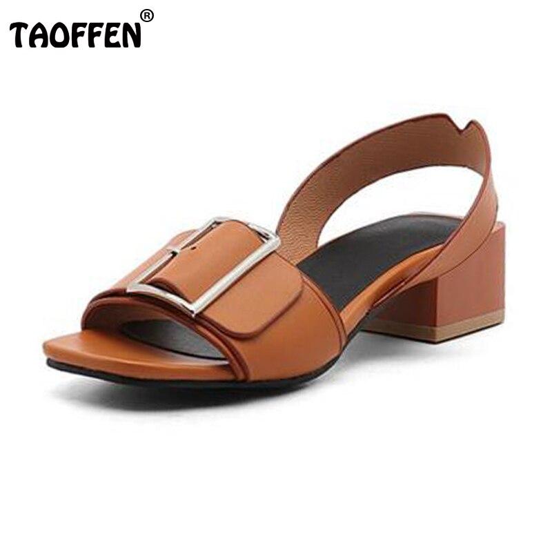 AicciAizzi Size 34-43 Brand Shoes Women Open Toe Shoes Woman Fashion Buckle Square Heels Summer Casual Sandals Fanshion Shoes