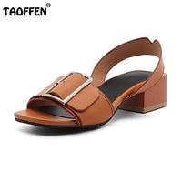AicciAizzi Size 34 43 Brand Shoes Women Open Toe Shoes Woman Fashion Buckle Square Heels Summer
