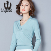 Dingaozlz new Korean elegant female solid color stitching Knitted casual tops fashion long sleeve Knitted pullover