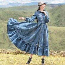 Free Shiping 2020 New Boshow Women Vintage Denim Long Maxi Long Lantern Sleeve Peter Pen Collar Dresses Spring And Autumn  S-L