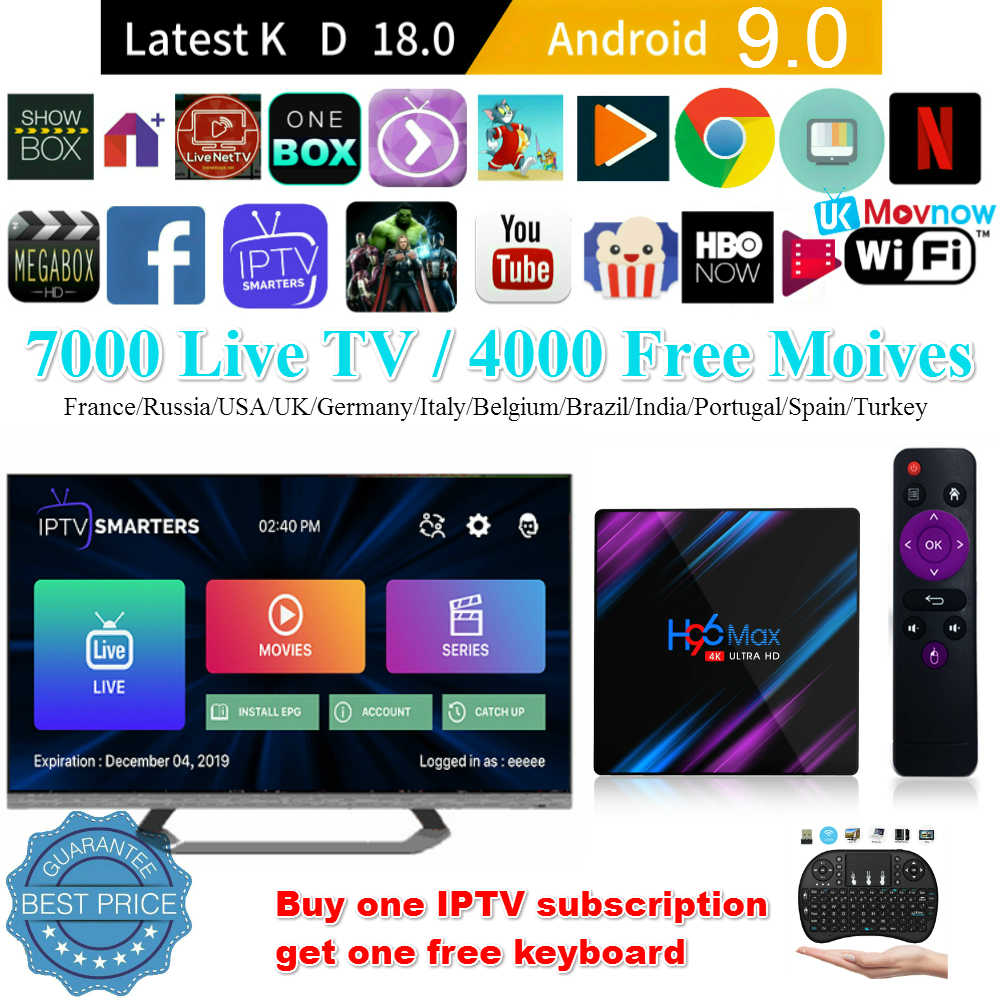 TTVBOX nuevo H96 MAX Android 9,0 TV Box IPTV 2G/16G 4G/64G RK3318 quad Core 2,4G/5G WiFi Bluetooth 4,0 4K HD Android Set Top Box