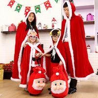 Christmas Family Clothes Baby Children Mother And Father Cloak Gifts Bag Of Santa Claus Winter Clothing