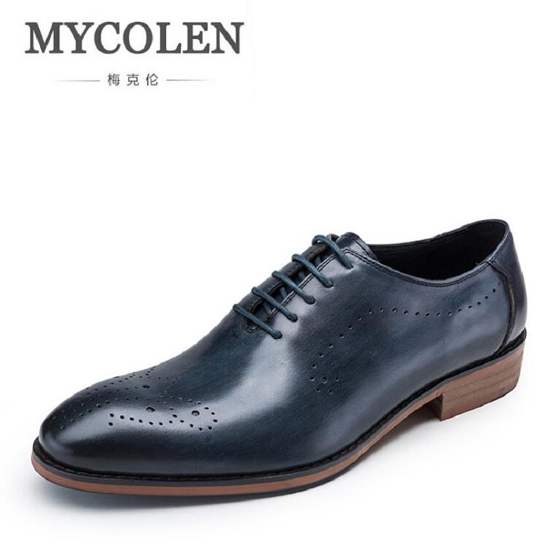 MYCOLEN Men Leather Shoe Custom Handmade Genuine Leather Men Wedding Shoes Minimalist Men's Dress Shoes Italian calzado hombre 2017 men shoes fashion genuine leather oxfords shoes men s flats lace up men dress shoes spring autumn hombre wedding sapatos