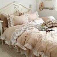 Роскошная вышивка набор свадебного постельного белья кружевной пододеяльник с оборками элегантное простыня покрывало Романтический Спал