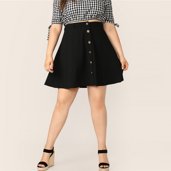 Plus Size Black Button Up Flare Skirt