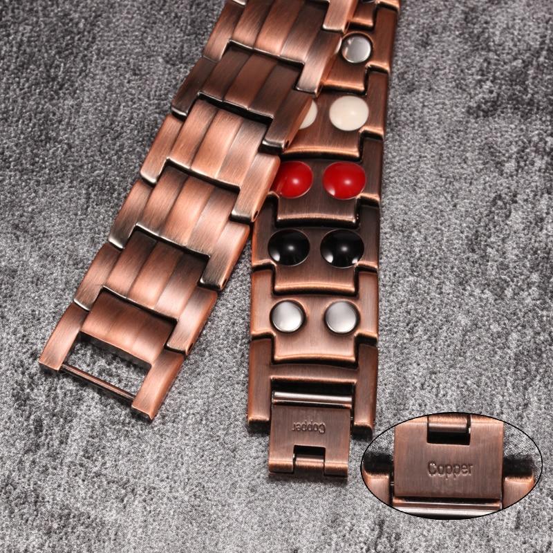 Pure Copper Bracelet Men Energy Germanium Magnetic Bracelet Copper Vintage Hologram Chain Link Bracelets for Men Arthritis