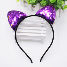 8 Colors Fashion Can flip Sequins Cat Ear Girl Hairband Sexy Cat Ears Kid Hair Accessories For Women Party Cartoon Headband(China)
