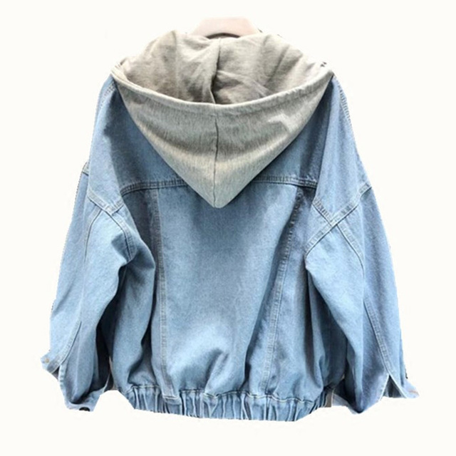 נשי מעיל רופף Streetwear נשים של מעילי ג 'ינס לנשים נשלף סלעית ינס לנשים מקרית BF Harajuku