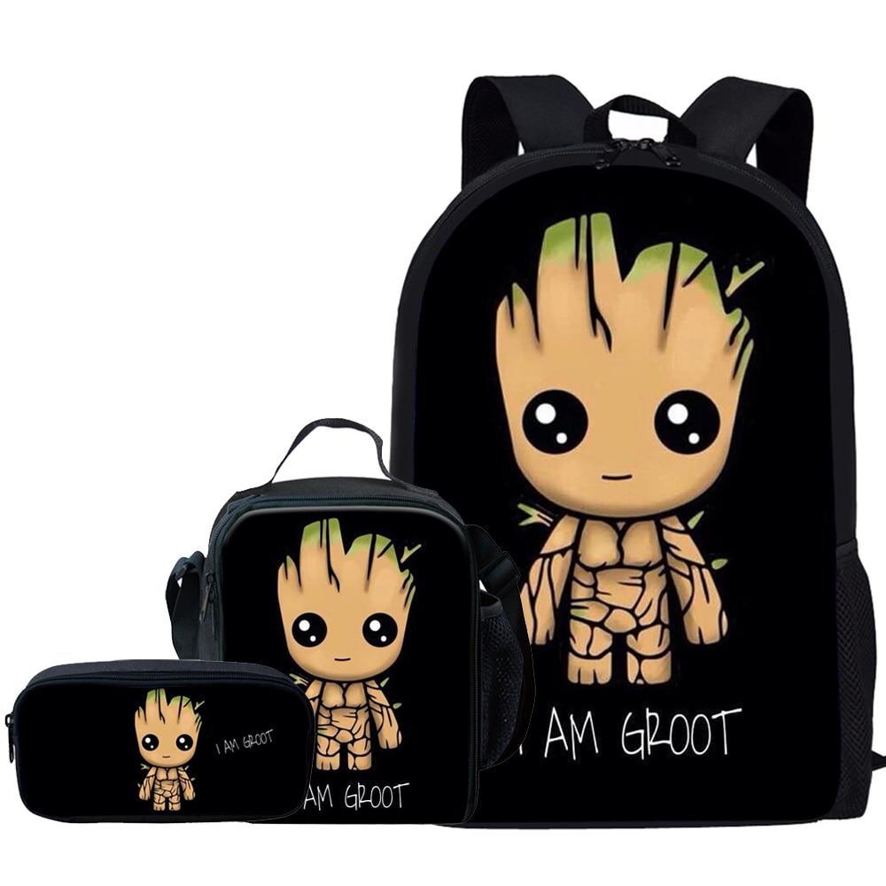 Jackherelook 2019 New Cartoon Groot School Bags For Teenagers Girls Children Backpack 3pcs/Set Mochila Boys Cute Schoolbag Child