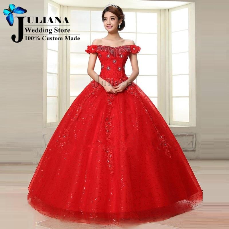 Red cinderella prom dress