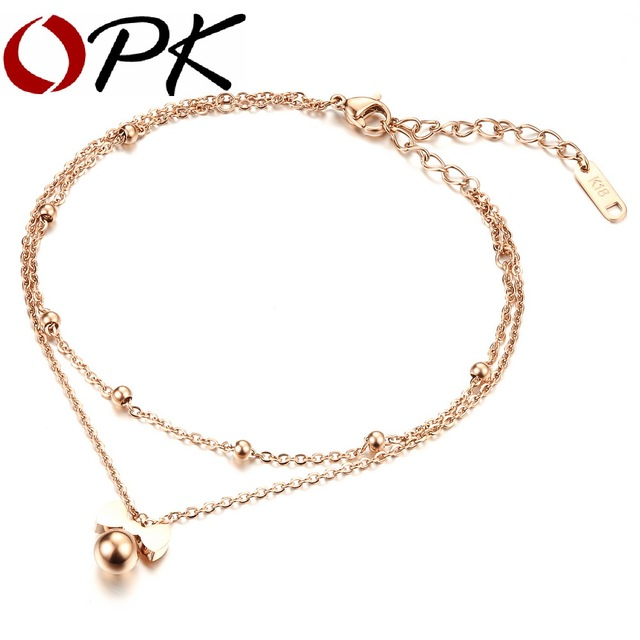 OPK Delicate Bowknot Woman Anklets Classical Rose Gold Color