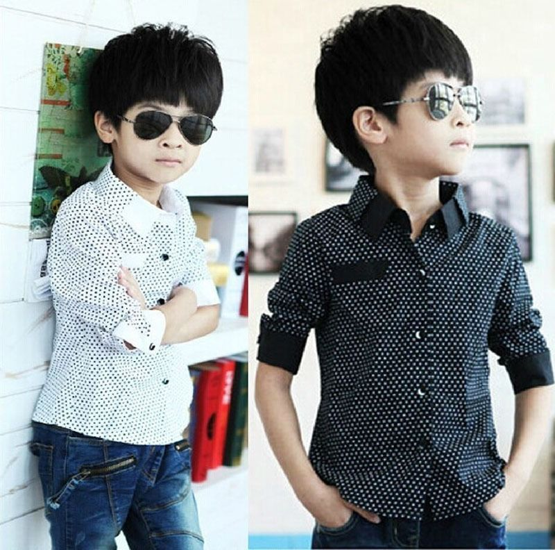 2015 Autumn winter Boys Formal Plain Long Sleeved Shirt Party Polka Dot Shirts 3-8Years