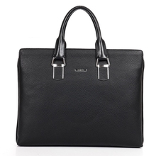 genuine cowhide leather litchi grain briefcases dress women's business travel work hand solid computer packages laptop tote bags
